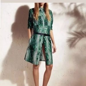 Derek Lam Green/Black White Woodgrain Dress L
